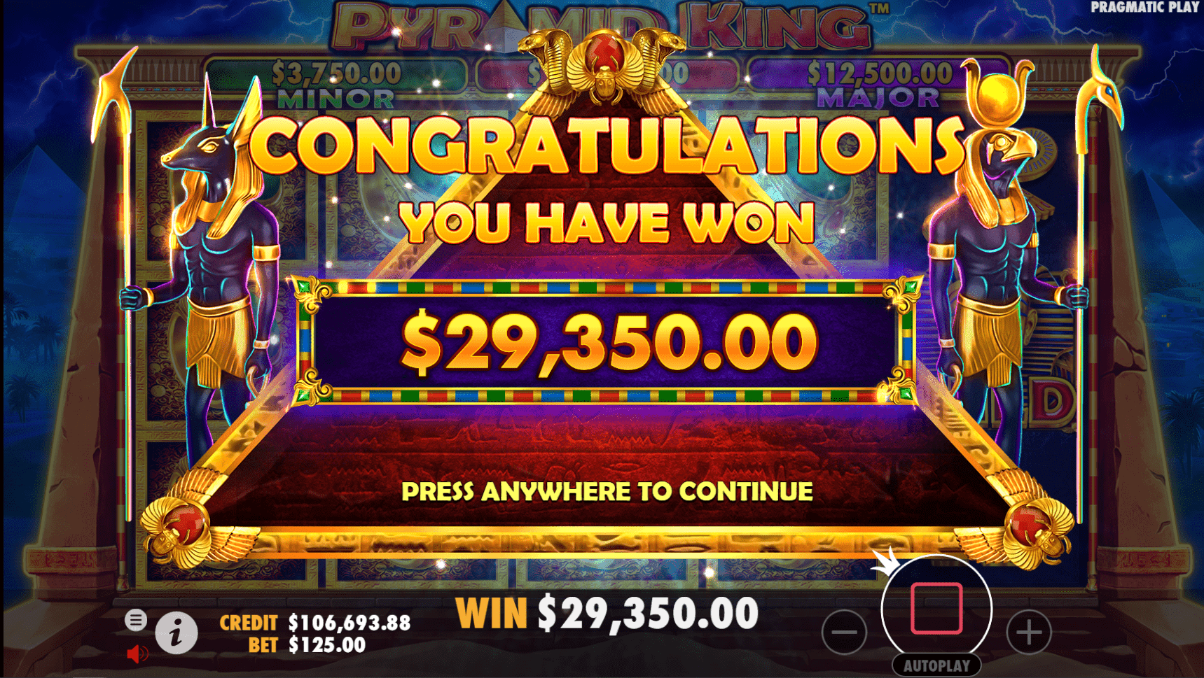 Pyramid King slot game big win