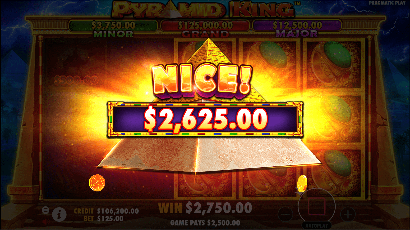 Pyramid King slot game win