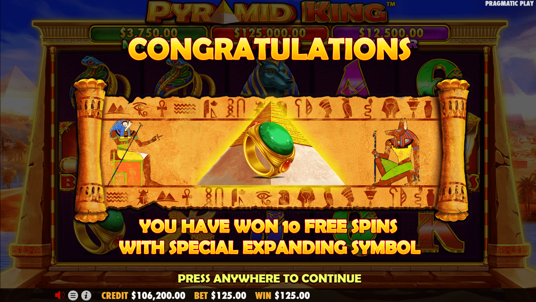 Pyramid King video slot special symbol bonus