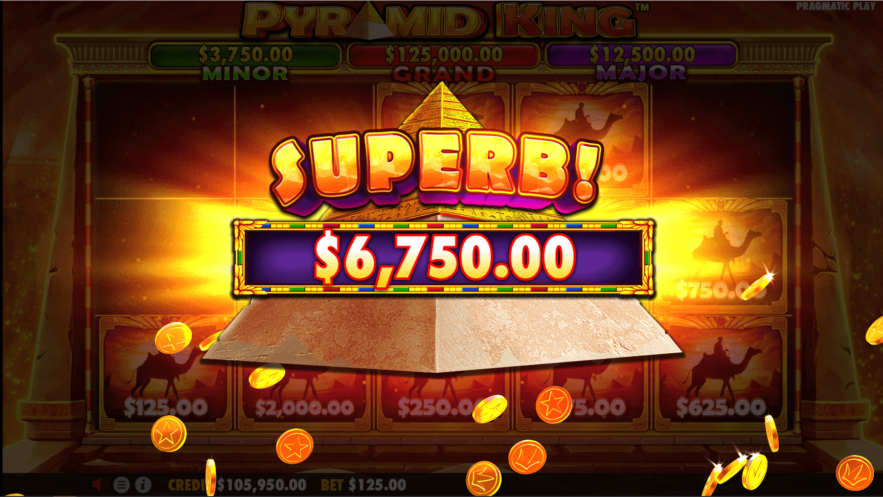 Pyramid King video slot win