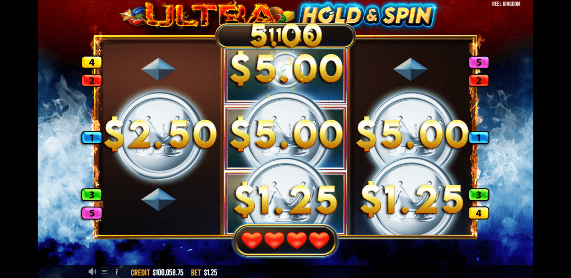 Ultra Hold & Burn video slot Respin Feature Coins