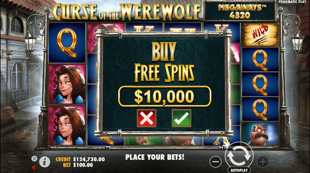 Curse of the Werewolf Megaways video slot buy bonus