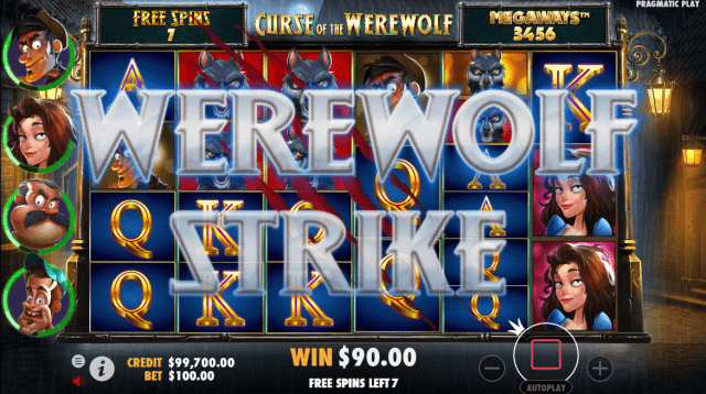 Curse of the Werewolf Megaways video slot werewolf strike