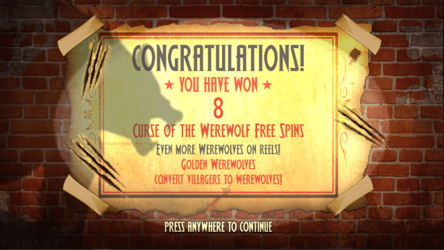 Curse of the Werewolf Megaways video slot Free spins trigger