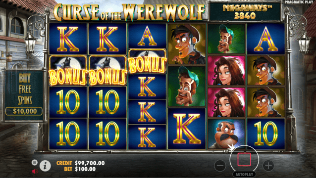 Curse of the Werewolf Megaways Bonus trigger