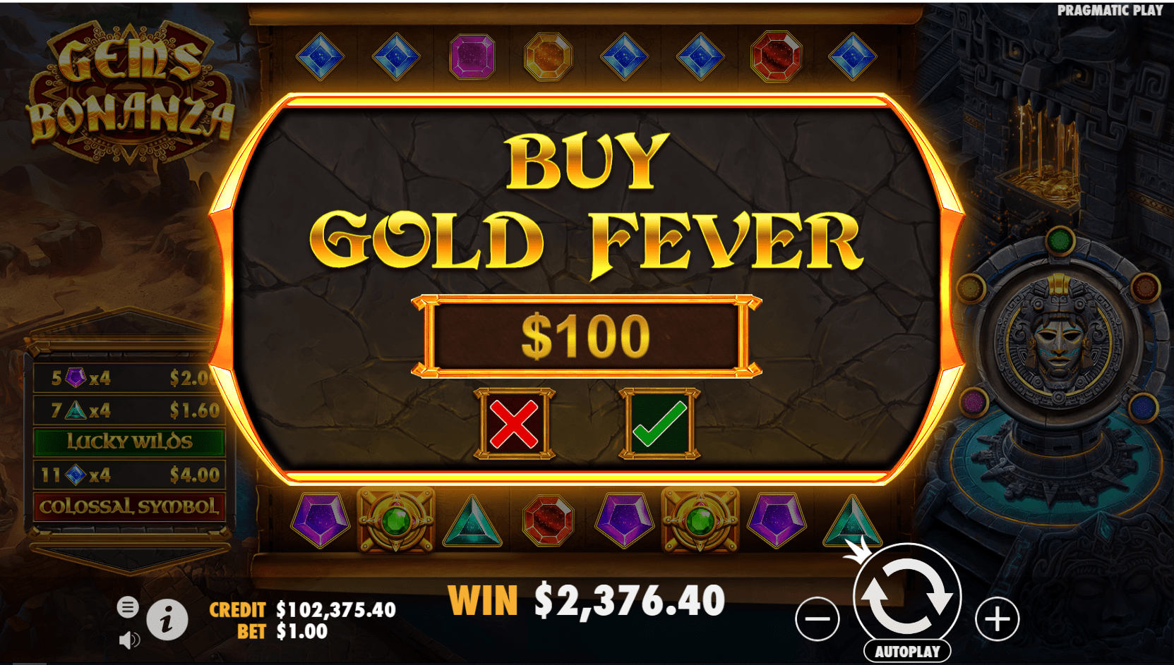 Gems Bonanza video slot buy bonus