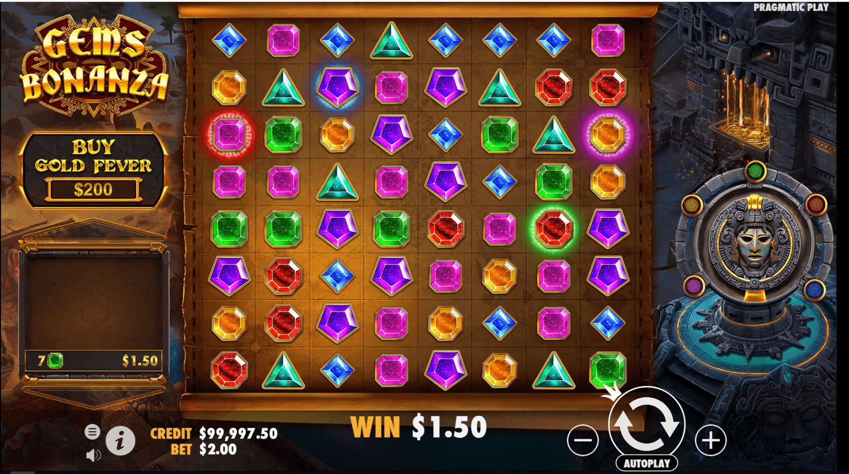 Gems Bonanza video slot base game