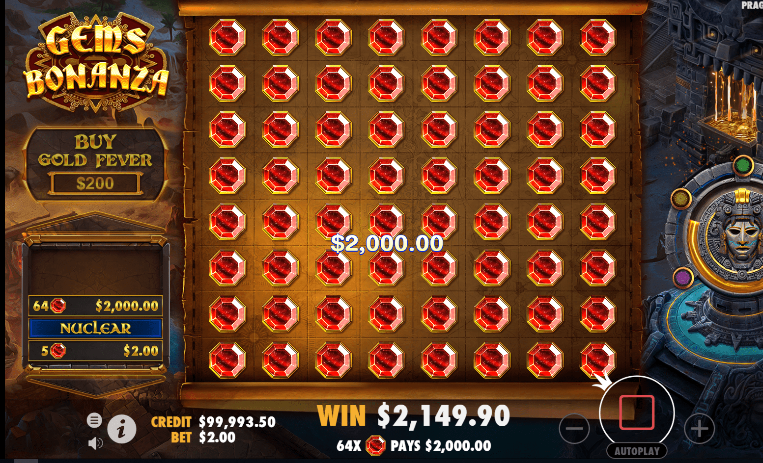 Gems Bonanza video slot big win