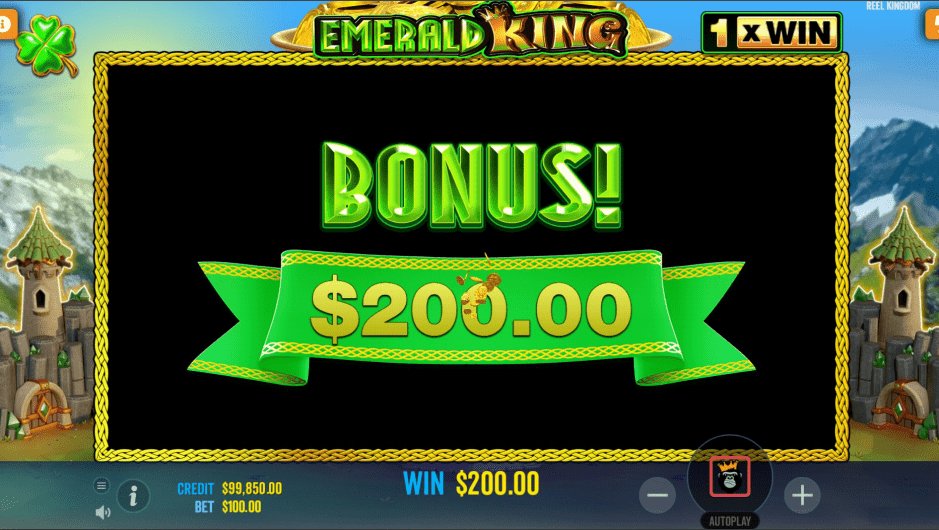 Emerald King Video Slot Bonus Win
