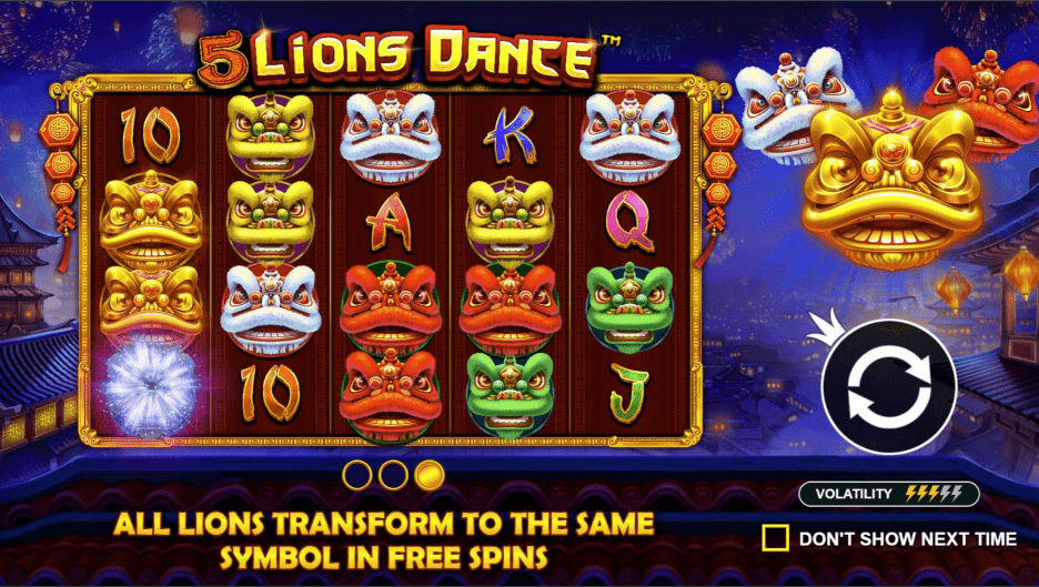 5 Lions Dance  welcome screen