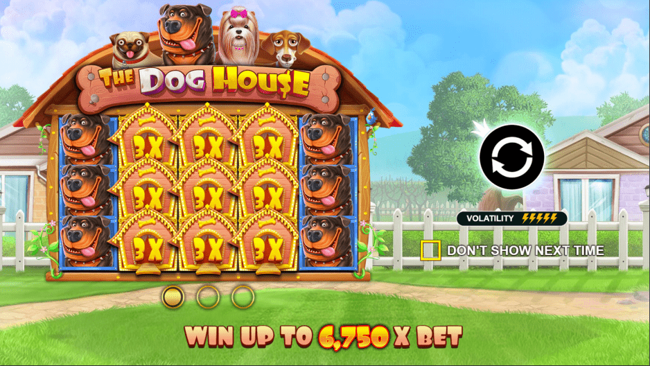 The Dog House video slot Welcome Screen
