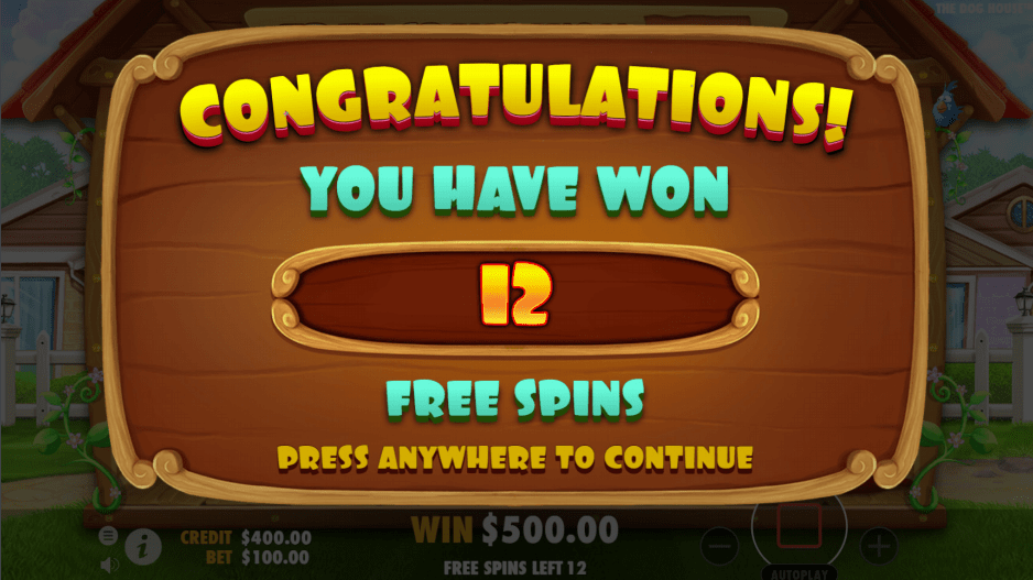 The Dog House video slot 12 free spins