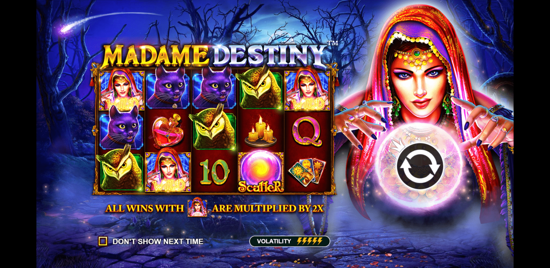 Madame Destiny video slot welcome screen