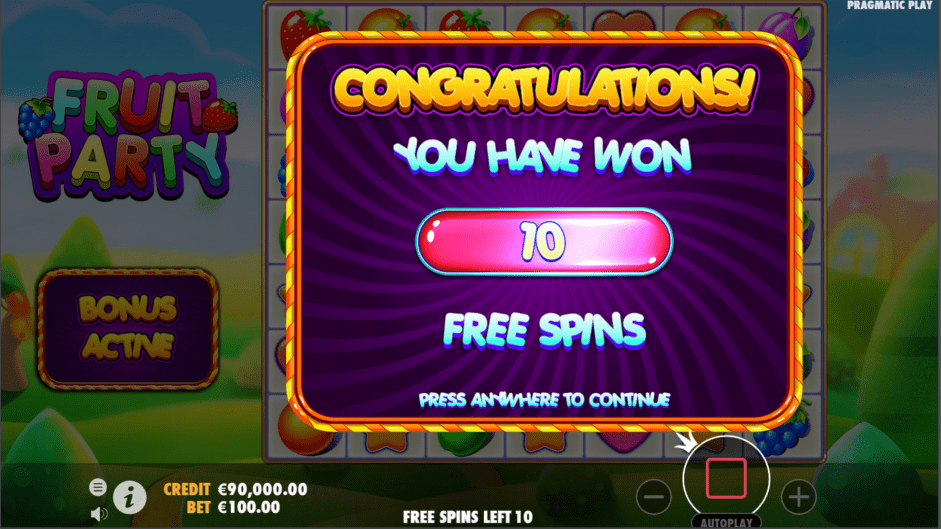 Fruit Party Video slot Free Spins