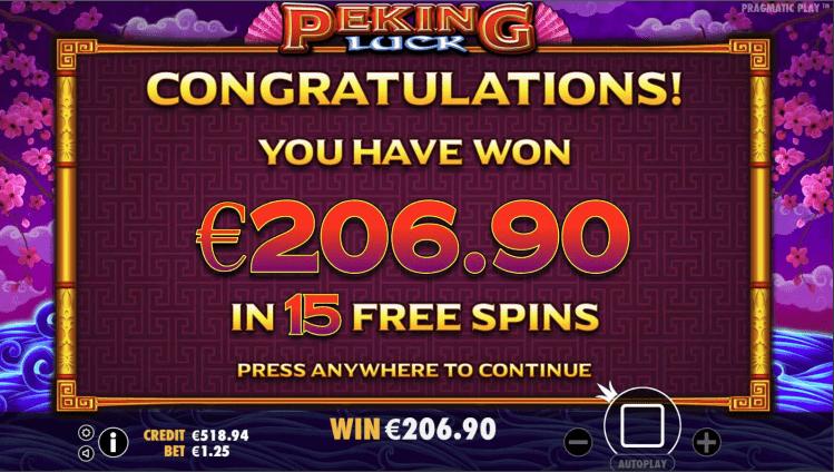 Peking Luck Video slot Free Spins win