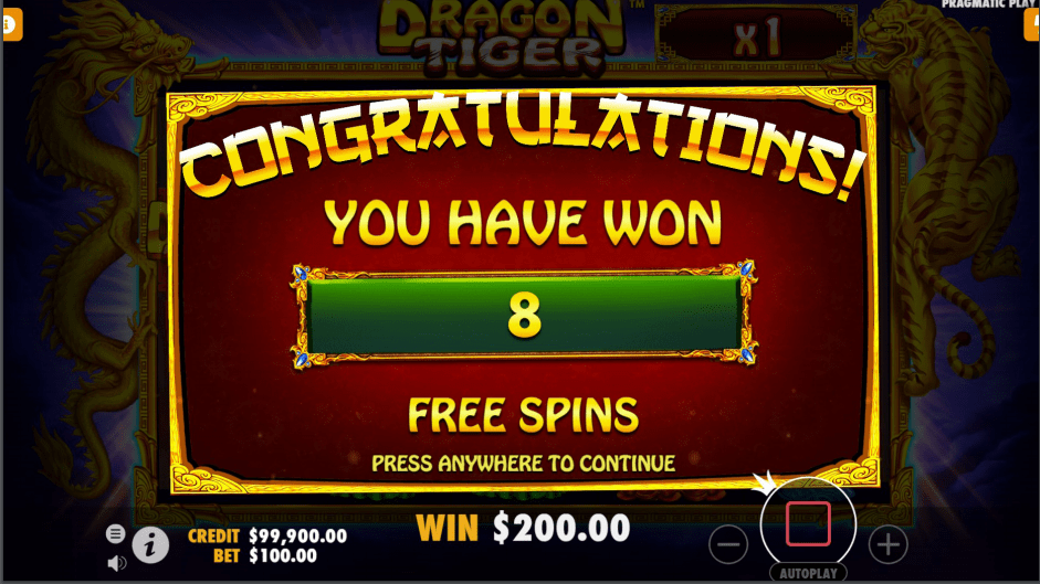 Dragon Tiger Video slot eight free spins