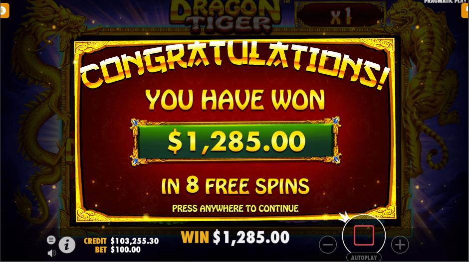 Dragon Tiger Video slot big win