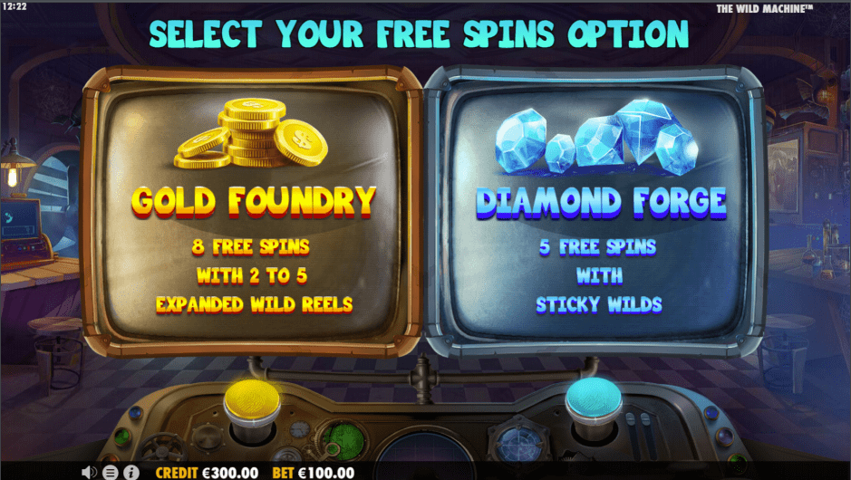 The Wild Machine Video Slot free spins feature choice