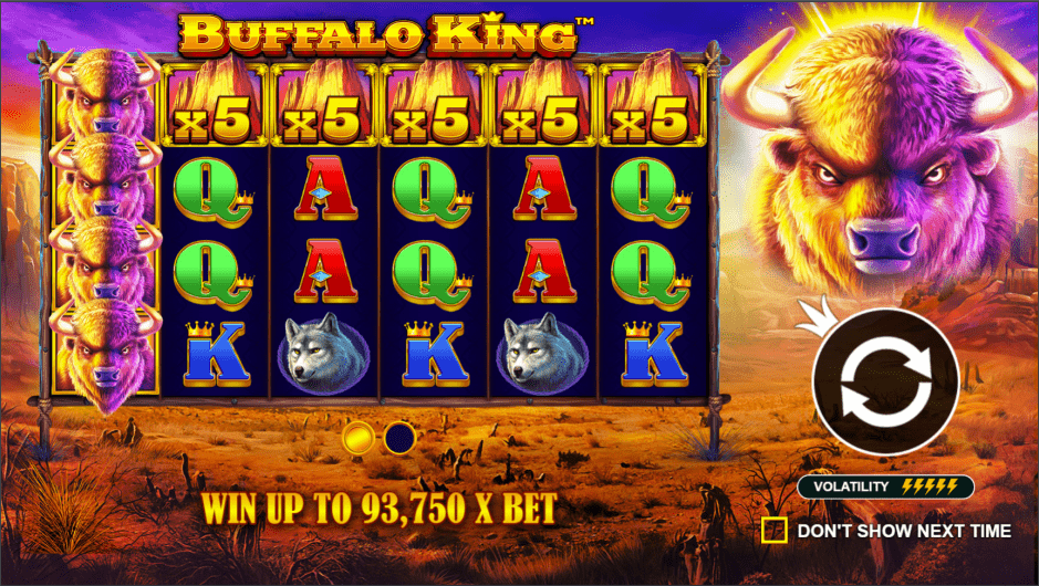 Buffalo King video slot welcome screen
