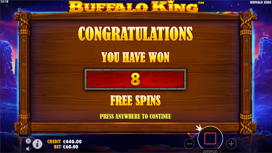 Buffalo King video slot eight free spins won