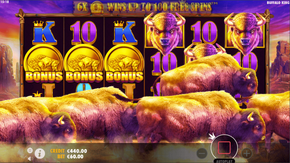 Buffalo King video slot bonus trigger