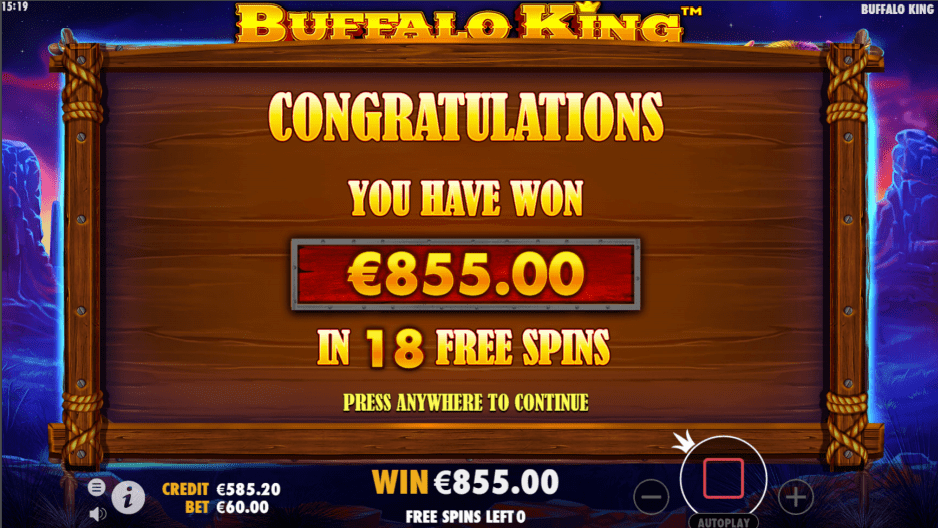 Buffalo King video slot big win