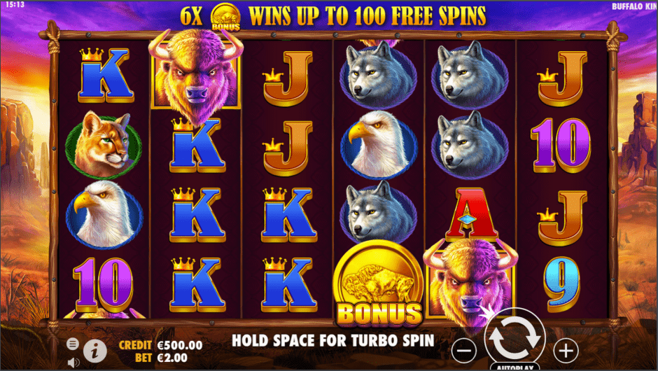 Buffalo King video slot base game