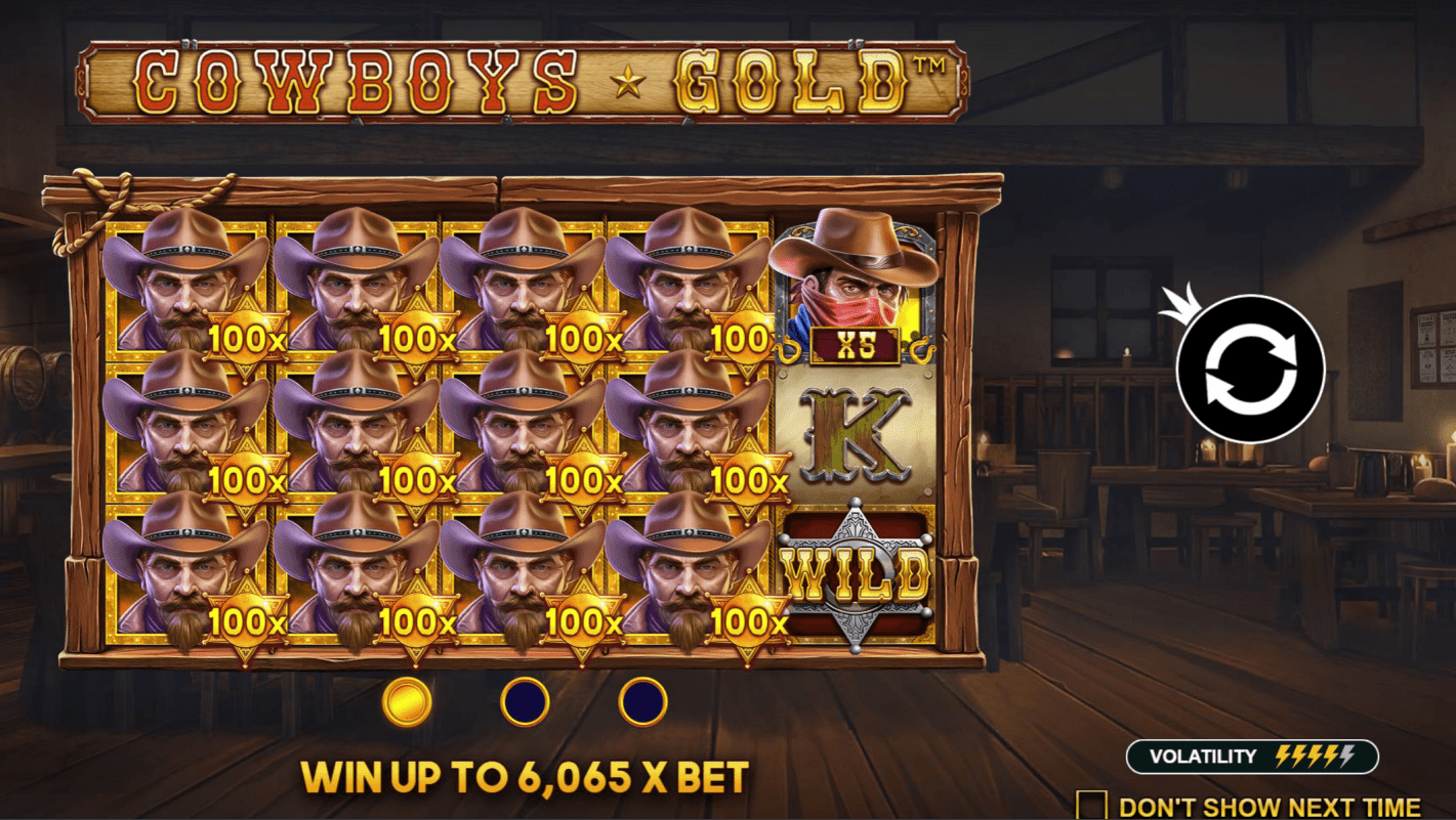 Cowboys Gold Video slot welcome screen