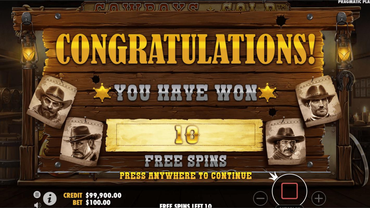 Cowboys Gold Video slot 10 Free Spins won