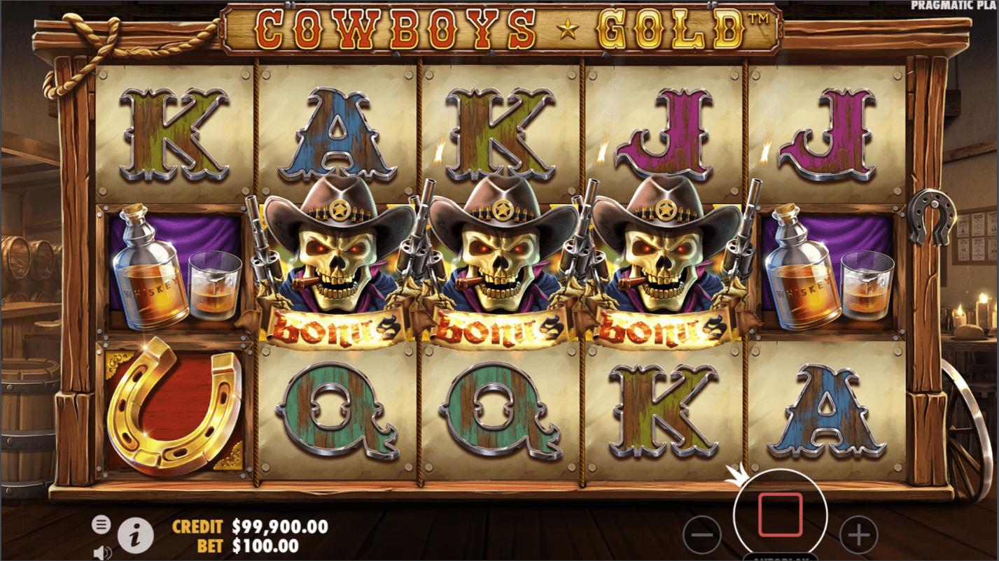 Cowboys Gold Video Slot bonus trigger
