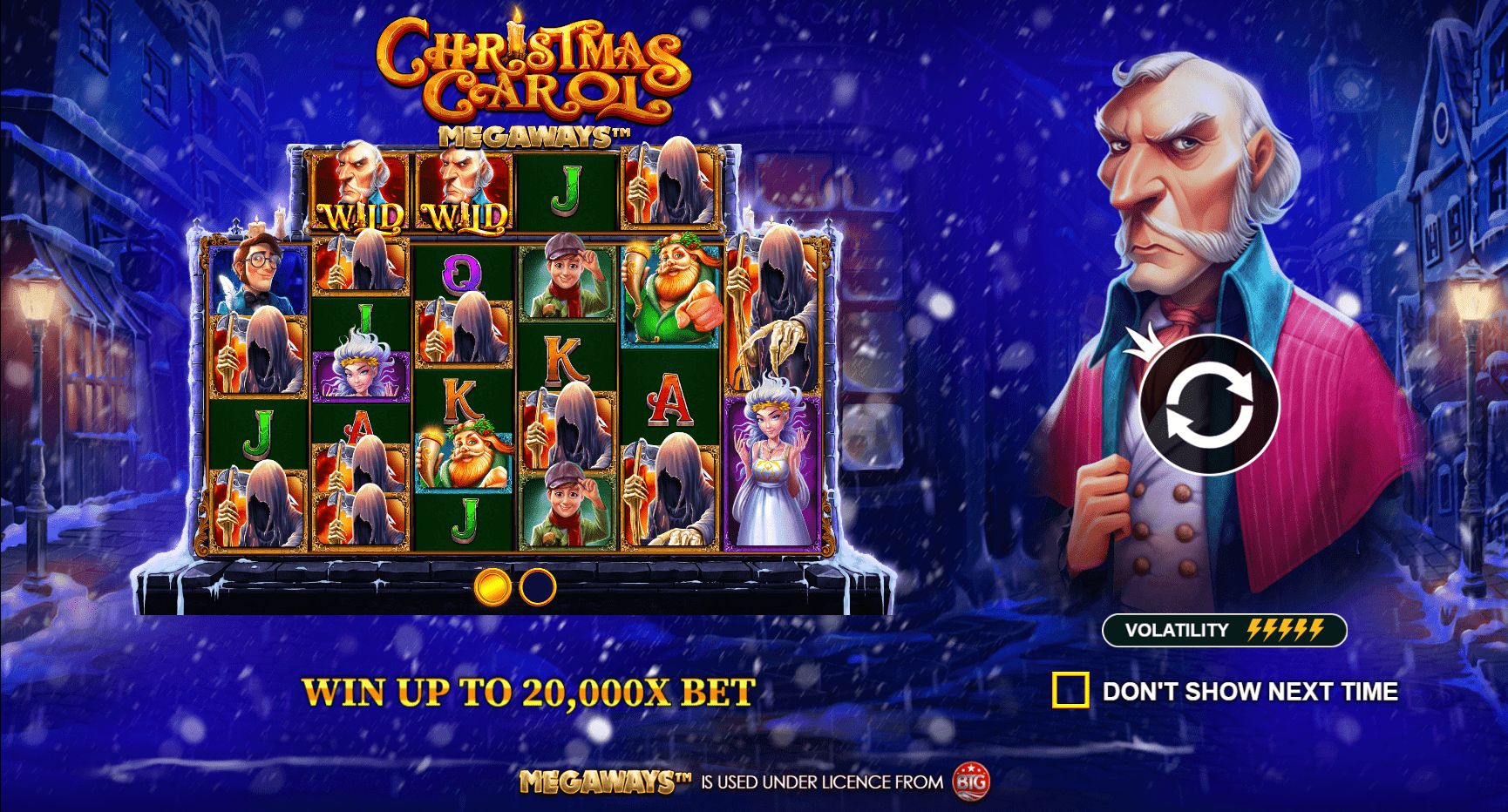 Christmas Carol Megaways video slot welcome screen