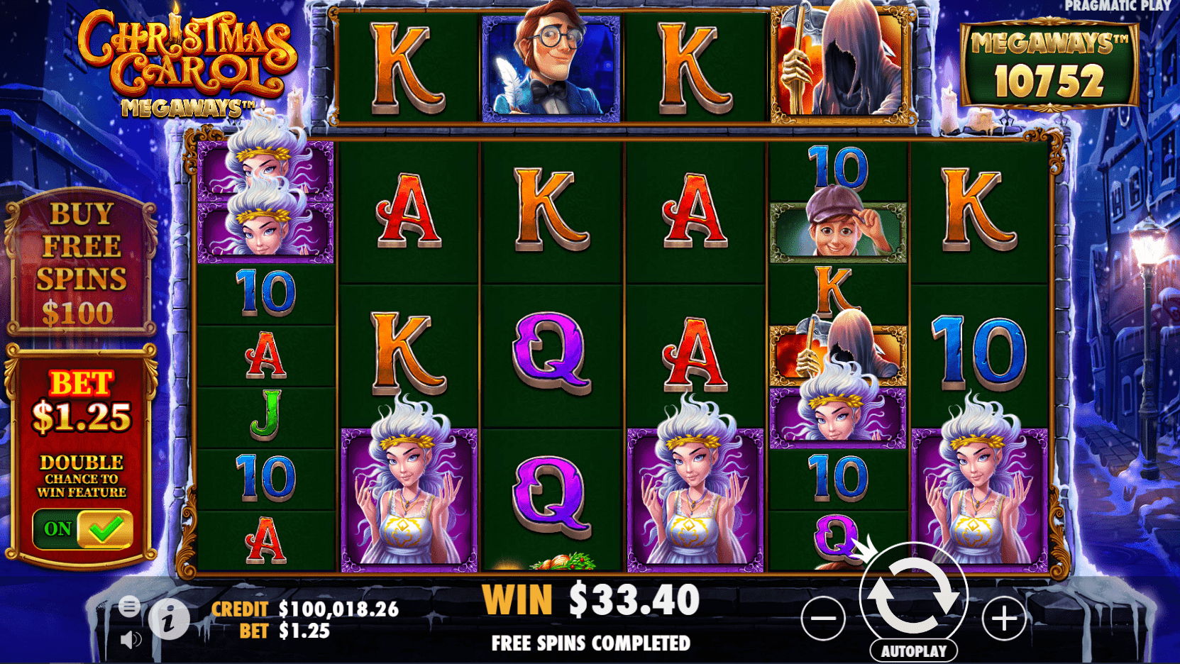 Christmas Carol Megaways video slot ante bet active