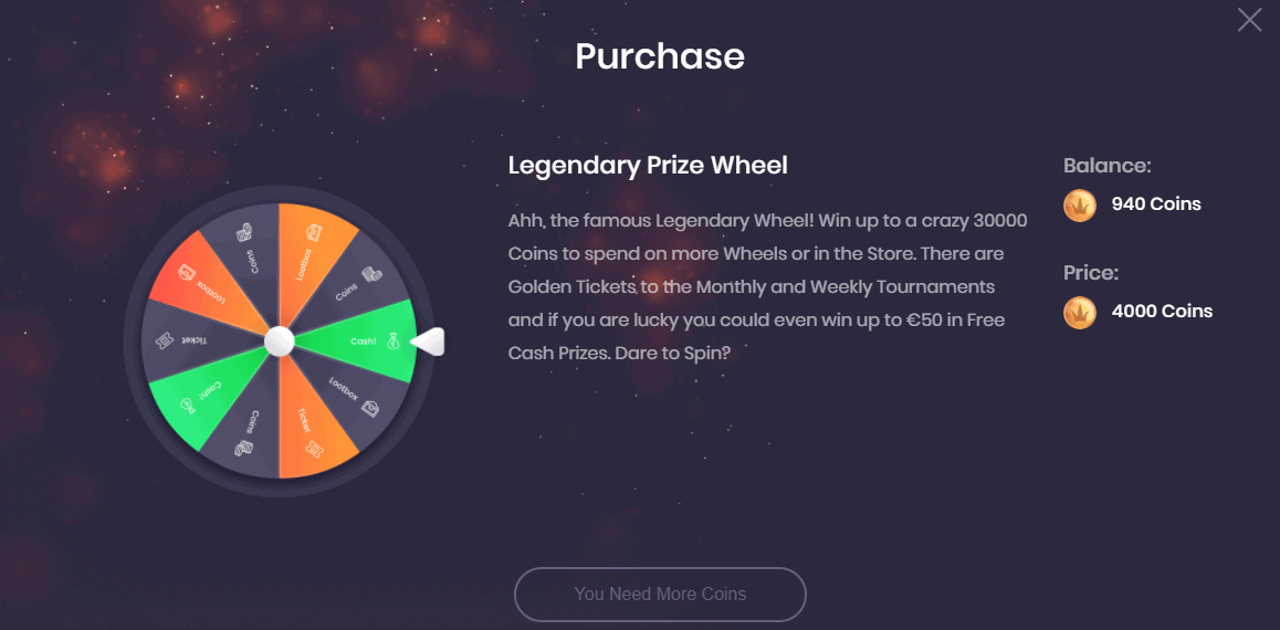 Social Tournaments Legendary Prize Wheel