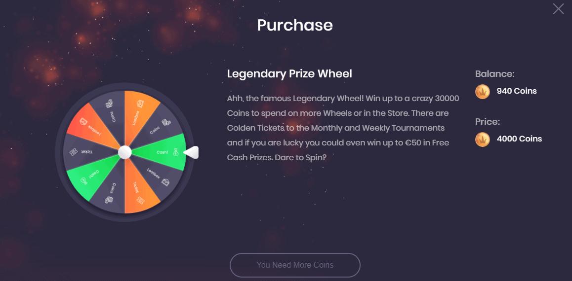 Social Tournaments Legendary Prize Wheel