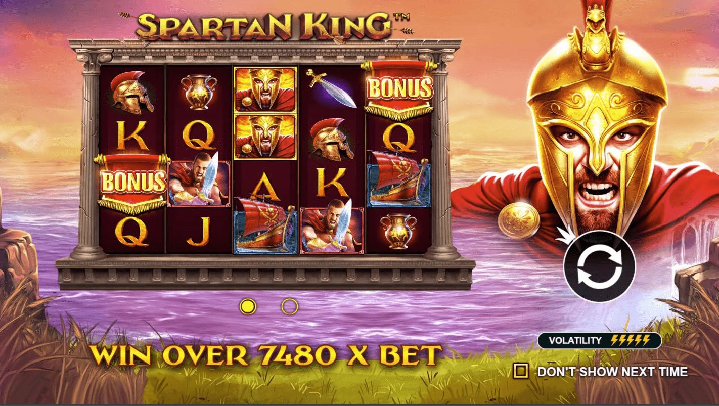 Spartan King Video Slot Welcome screen