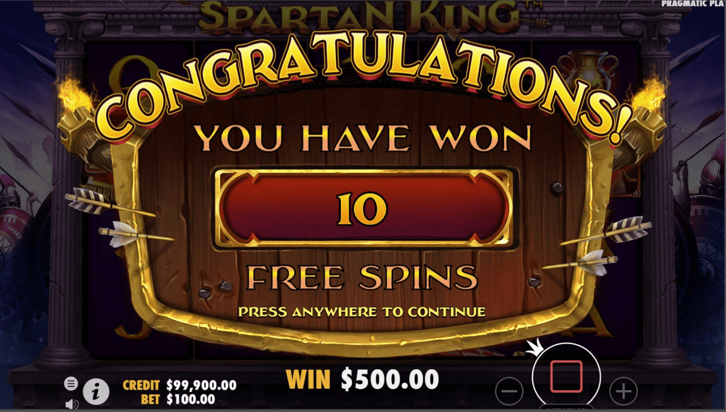 Spartan King Video Slot ten free spins