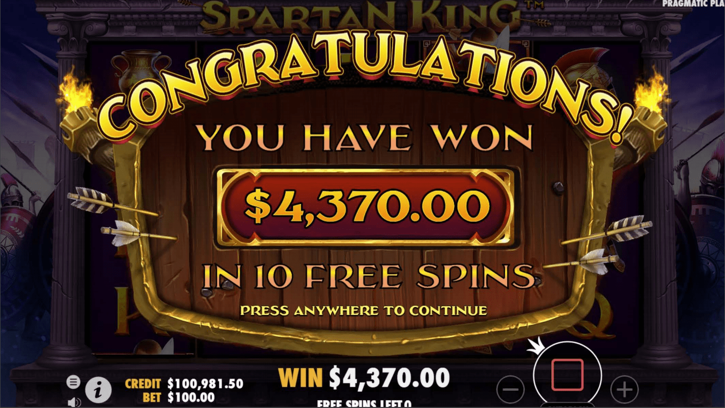 Spartan King Video Slot big win