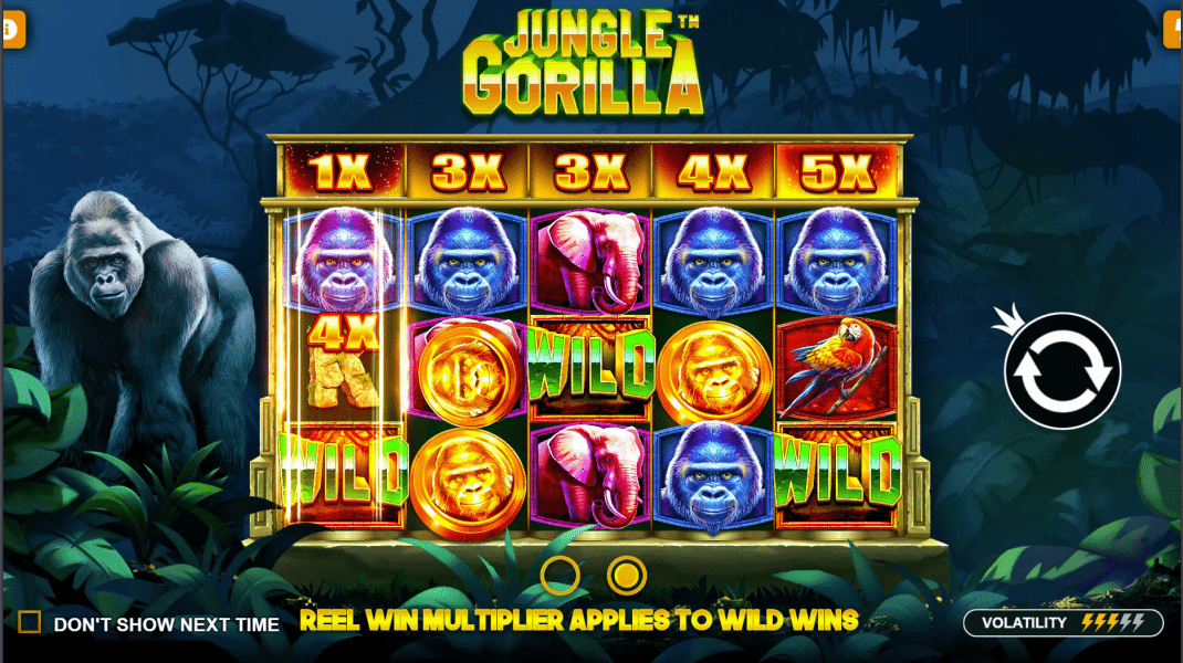 Jungle Gorilla Video Slot Welcome Screen