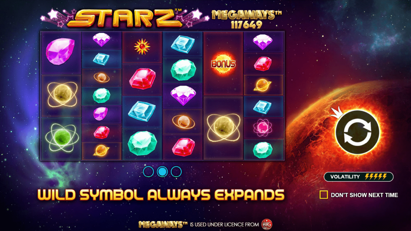 Starz Megaways Video Slot Welcome Screen