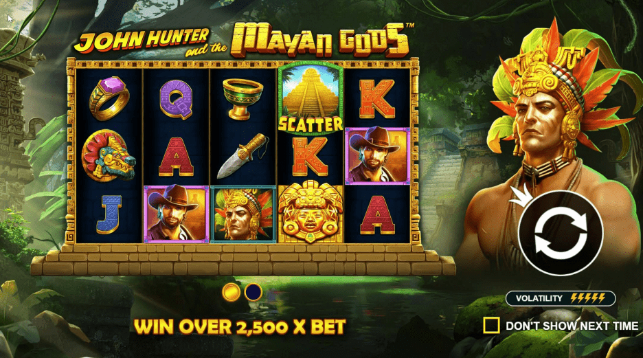 John Hunter and the Mayan Gods video slot welcome screen