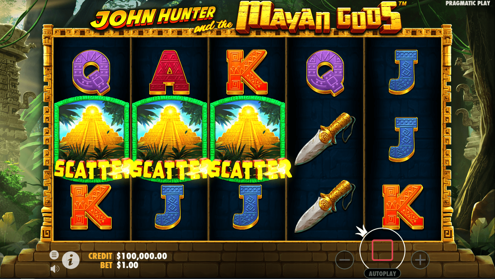 John Hunter and the Mayan Gods video slot scatter trigger