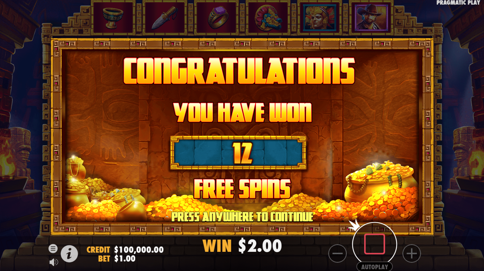 John Hunter and the Mayan Gods video slot 12 free spins