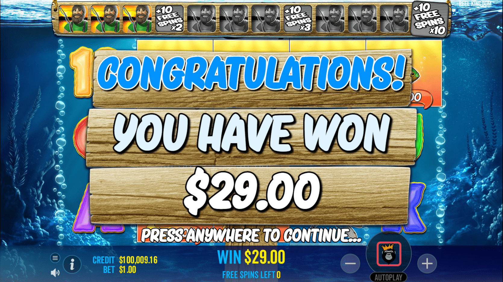 Big Bass Bonanza Video Slot Free Spins win