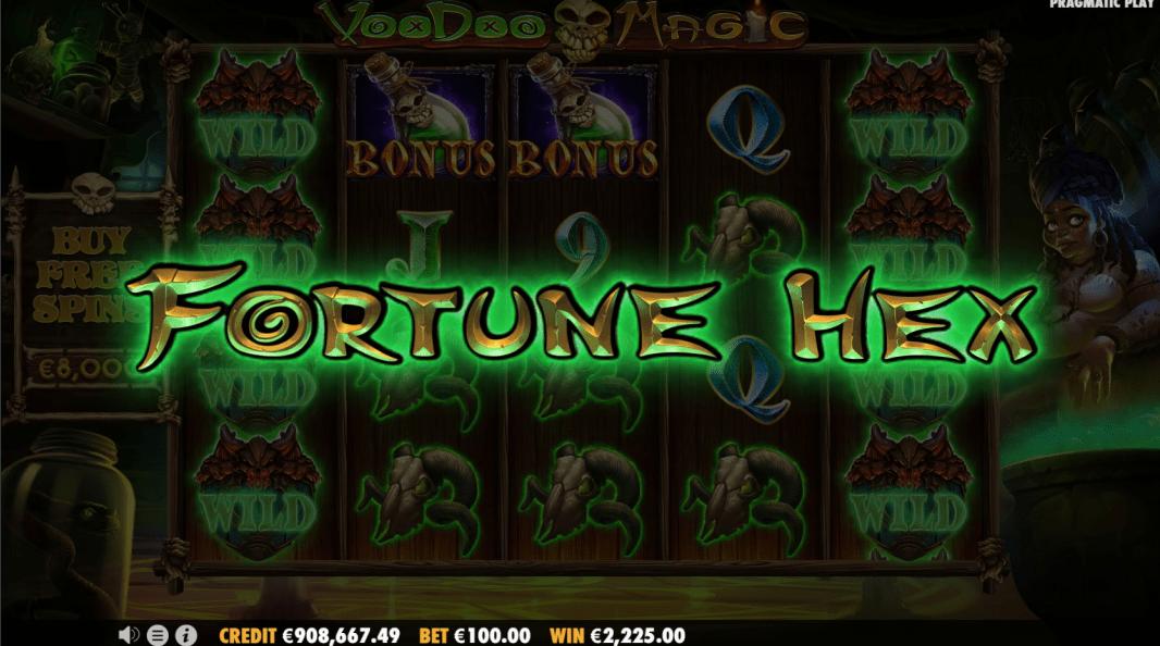 Voodoo Magic Videoslot Fortune hex feature
