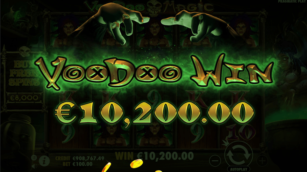 Voodoo Magic Videoslot big win