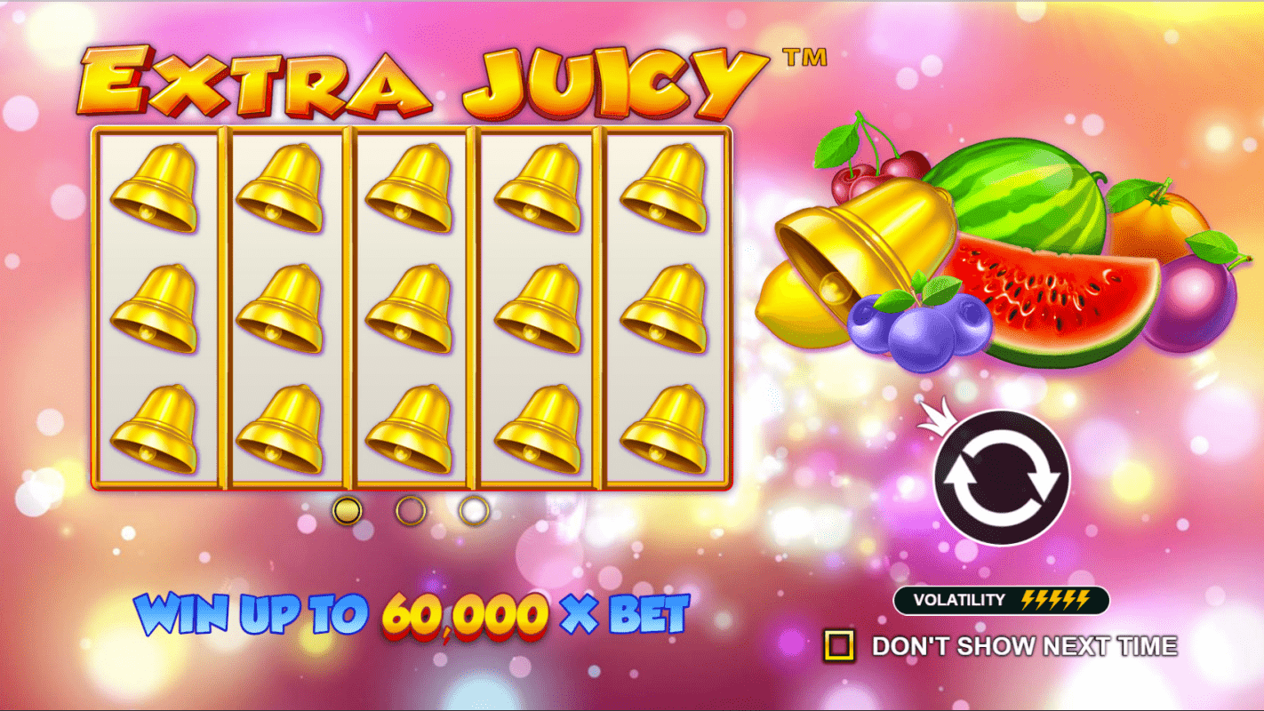 Extra Juicy Video Slot Welcome Screen