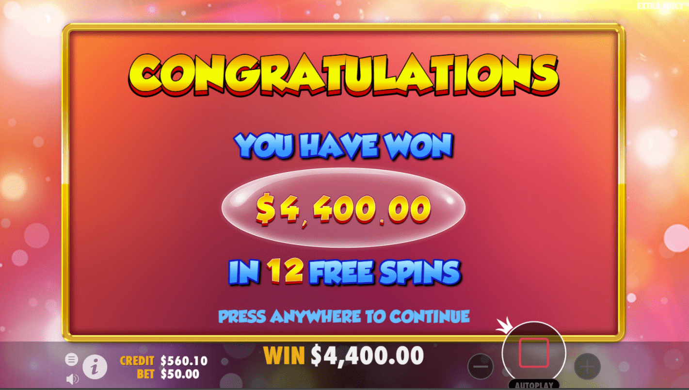 Extra Juicy Video Slot Free Spins Win