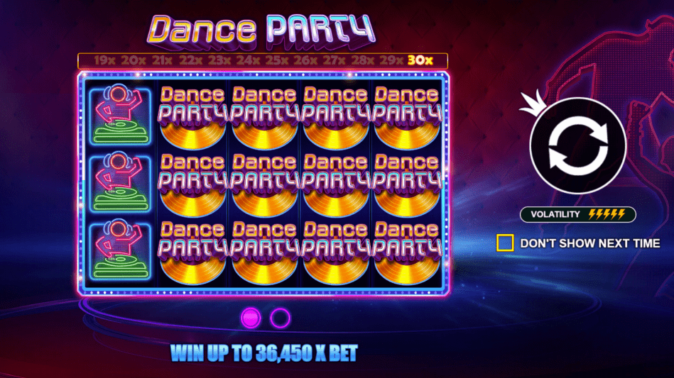 Dance Party Slot Game Welcome Screen