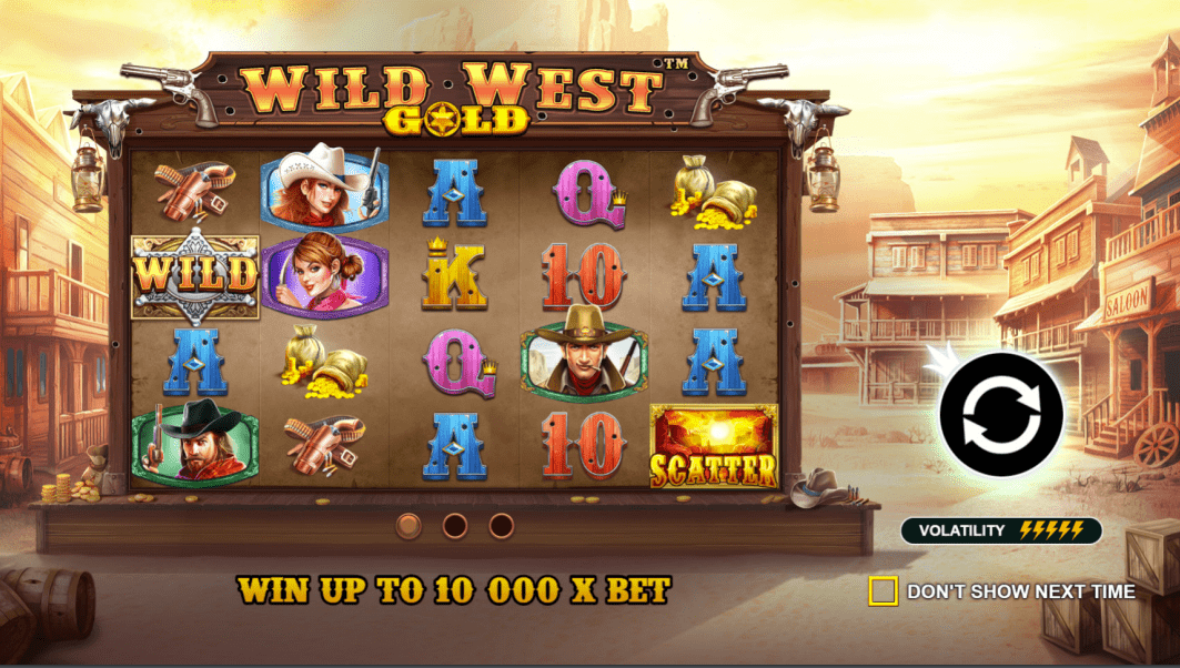 Wild West Gold Video Slot Welcome Screen