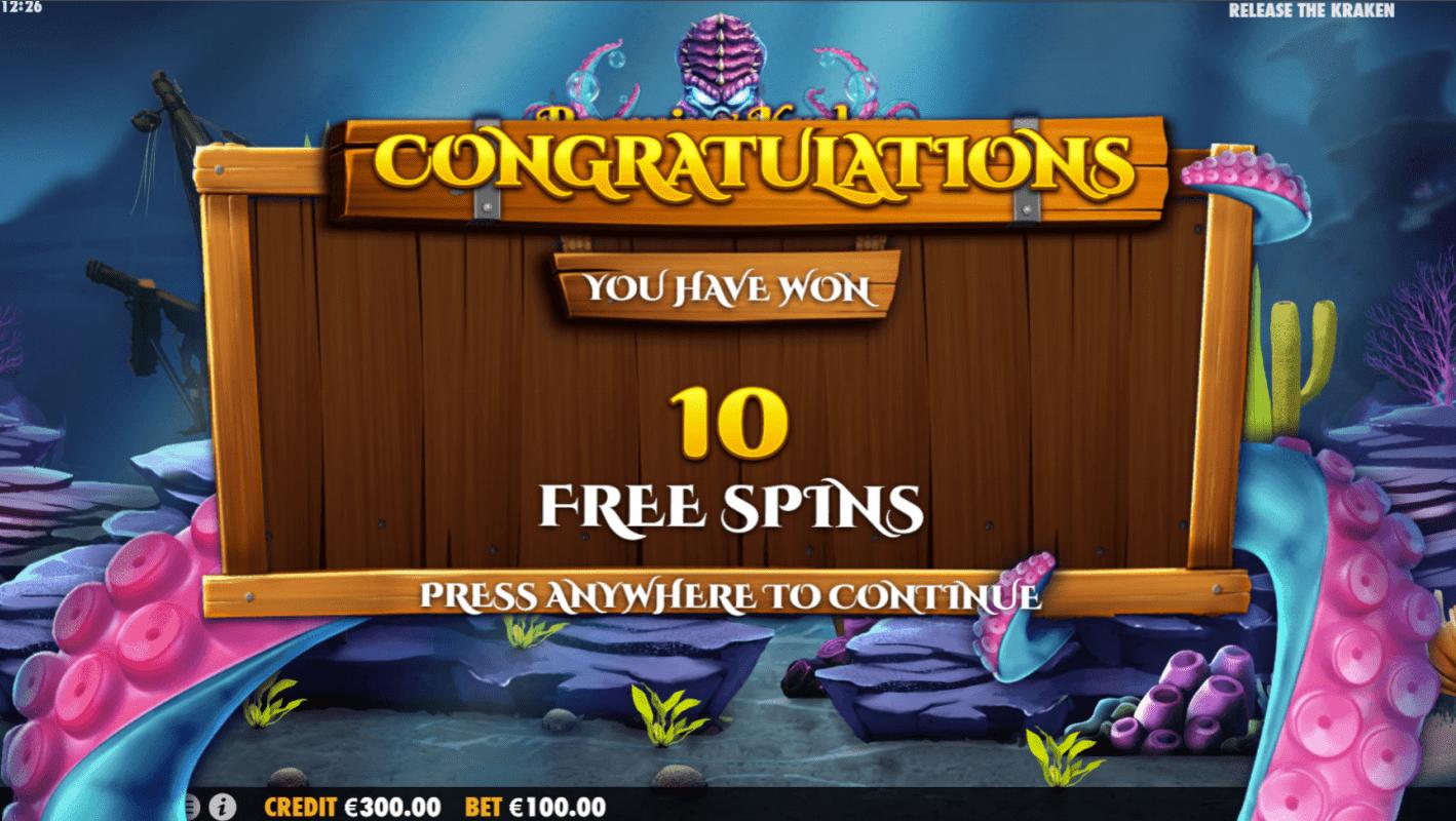 Release the Kraken Slot Machine Free Spins Trigger